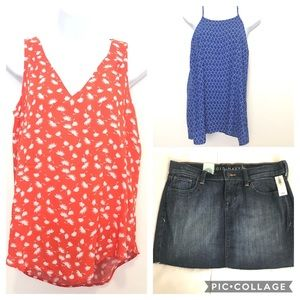 Old Navy Bundle of 3- 2 Tops &  Denim Skirt